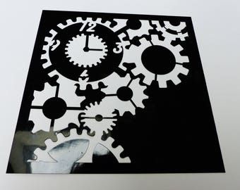 stencil flexible clock and mechanism square 15 centimeters