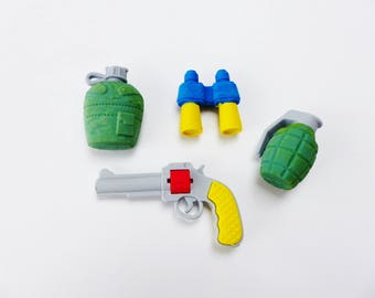 Set of 4 rubber Eraser gun grenade gourd and twin collection office gum Kit