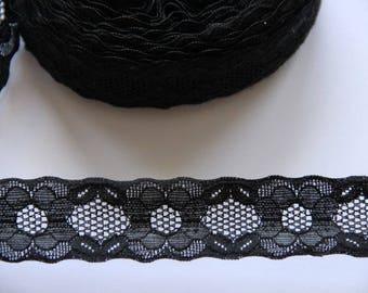 Lace flower pattern black spandex