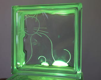 Cobblestone glass customization offered - engraving of a cat and a spool