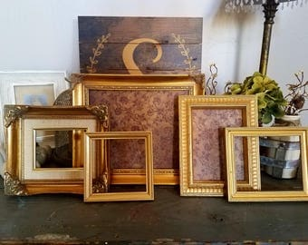ON SALE New Unique Gold Rustic Picture Frame Set-wall gallery-collection of 4 Gallery Frame Set--shabby chic-home French Country Decor