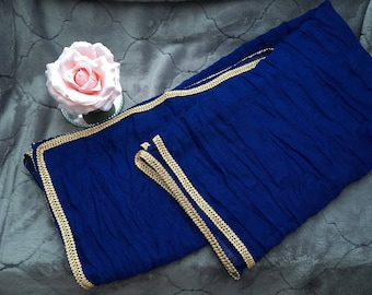 royal blue scarf and gold border