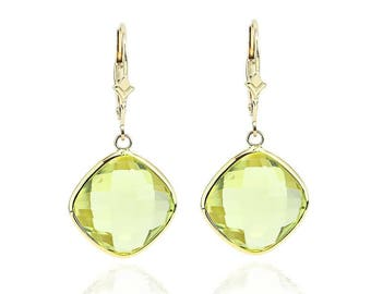 14K Yellow Gold Handmade Gemstone Earrings With Cushion Cut Lemon Quartz