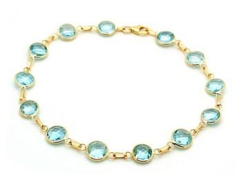 Handmade 14k Yellow Gold Gemstone Bracelet with 6mm Round Blue Topaz Stations