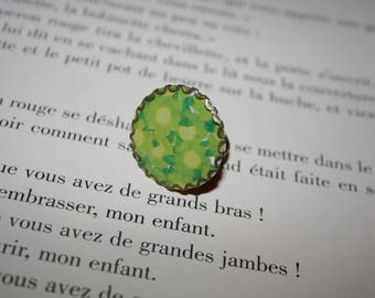 ring - bronze - 25 mm - Green flowers