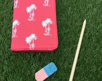 Note book / Notebook Pink, coral Palm pattern