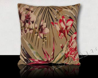 "Flowers XXL orchids and exotic foliage multicolored ""HARLEQUIN"" print cushion"