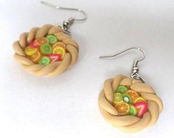 Earrings in polymer clay fruit tart