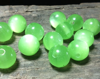 ☆ Set of 20 mm/round/green ☆ 8/cat eye beads