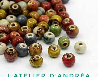 Glazed porcelain, 50 beads, 6 mm, mixed color beads, warm tones