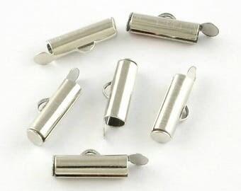 Set of 10 zipper end caps / 20 x 5.5 x 4 mm / Platinum/brass