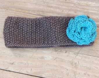 Blue Brown wool with a crocheted flower child headband