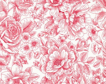 red floral patchwork fabric white 120/12052