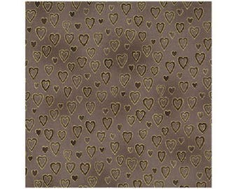 patchwork hearts ref ST4598309 taupe Christmas fabric