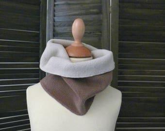Beige and Brown reversible fleece SNOOD/scarf