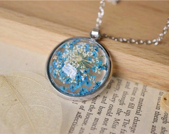 Pressed Flower Necklace, Pressed Flower Jewelry, Resin Pendant Necklace