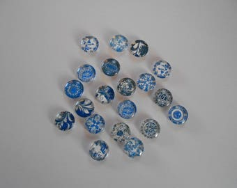 5 mixed cameos Cabochons glass blue and white accessory Pr Support 1.4 cm round