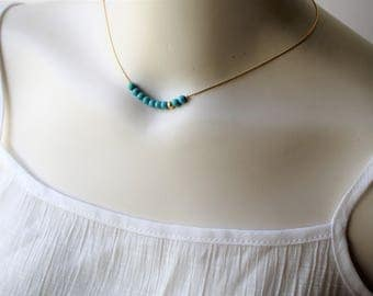 Turquoise Gold Necklace,Gold Turquoise Necklace,Beaded Turquoise Necklace,Turquoise Beaded Necklace,Turquoise Jewelry,December Gift