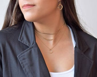 Gold Circles Necklace, Dainty Gold Necklace, Gold Filled Dainty Necklace,Gold Layered Necklace,Layering Necklace,Dainty Gold Circle Necklace