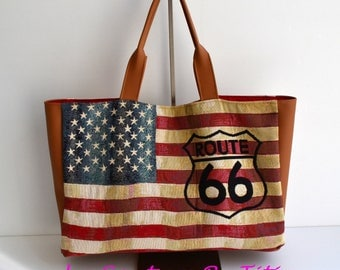 US Route 66 faux Camel leather tote bag and linen Beige handmade @lacouturebytitia