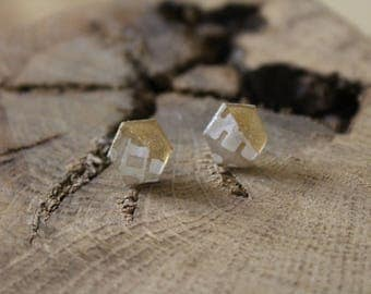 Simple Stud Earrings resin decorated with gold leaf and paper finish Aztec gold filled 14 k