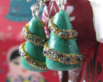 Polymer clay Christmas tree earrings