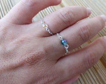 Chain Silver 925 swarovski Pearl ring