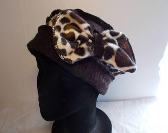 Faux fur Giraffe and dark brown boiled wool toque Hat