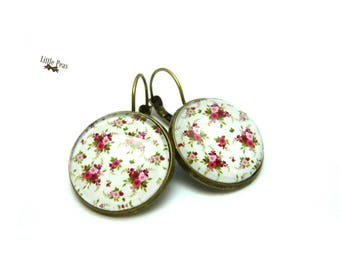 Shabby Chic glass dome earrings retro vintage