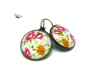 Earrings glass dome Floral retro vintage