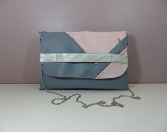 Clutch handbag with removable chain grey blue, pale pink and pale pink Liberty