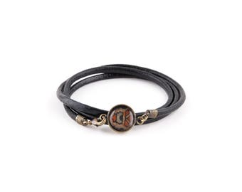 Bracelet leather black cord - black & Brown Medallion GALINETTE