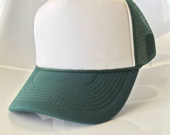 Dark Green/White Foam Cap