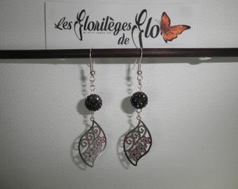 02497 - Filigree leaf and Flower Earrings
