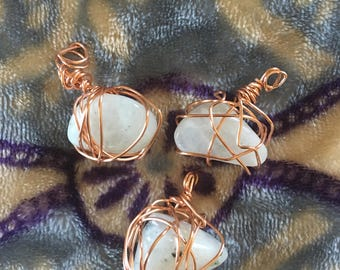 Wire Wrapped Moonstone Pendants