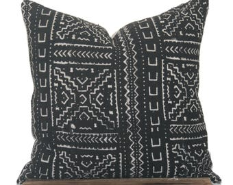 Black Mudcloth Pillow Cover, Authentic African Mudcloth