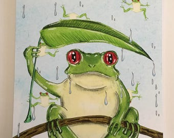 Raining frogs illustration
