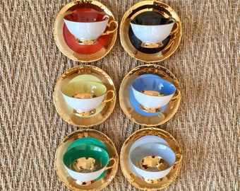 1950's - set of 6 cups and saucers porcelain coloured and gilded with fine gold