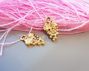 10 metal charms Golden grape 17 mm x 0.8 mm or 6 x pendant
