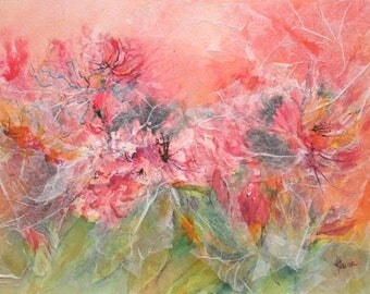 Dream flowers - Floral watercolor, mixed media