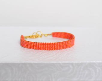 Bright coral weaved bracelet