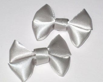 Set of 2 silver gray satin fabric bow