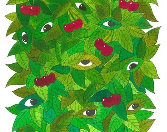 Cherries leaves eye drawing / pen and ink