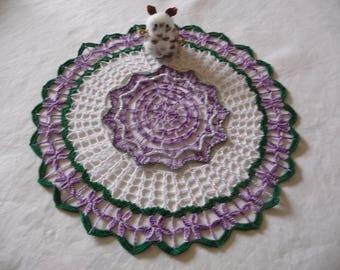 Handmade lace doily in purple Ombre, Pine Green cotton.