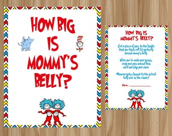 Dr Seuss Mommyu0027s Belly, Dr Seuss Baby Shower, Thing 1 Thing Mommyu0027s Belly,