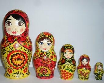 "Nesting Dolls 19 cm 7,5"" matryoshka, nesting doll, russian doll, Khokhloma, Khokhloma painting"