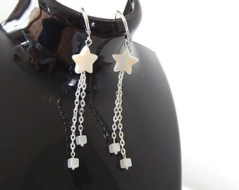 Earrings iridescent mother of Pearl stars