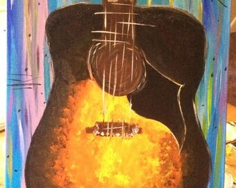 Acoustic Guitar Acrylic Painting