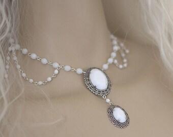 Victorian necklace Medieval Baroque wedding white