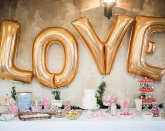 SALE Giant LOVE Balloon 40 inch, Gold Love Balloon, Wedding Balloons, Bridal Shower, Giant Gold Balloons, Love Banner
